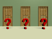 Three closed doors. With a question mark in front. What will be behind Royalty Free Stock Images
