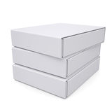 Three closed white box. Isolated render on a white background Stock Photos