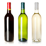 Three closed wine bottles without labels Royalty Free Stock Photo