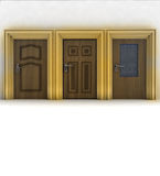 Three closed wooden doors Royalty Free Stock Image