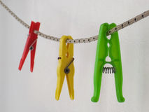 Three clothespin royalty free stock images