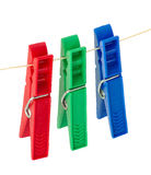Three clothespins Stock Photography