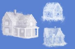 Three cloud dream houses collage Stock Image
