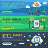 Three Cloud Service Banners Royalty Free Stock Image