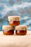 Three cloudberry jam jars. Sacking and blue background stock photos