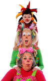 Three Clowns. Expressing joy isolated over a white background Stock Image