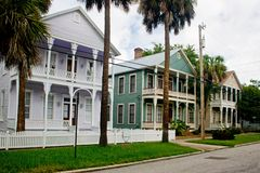 Three coastal victorian houses in row. Colorful, coastal Florida victorian style row homes Royalty Free Stock Photos