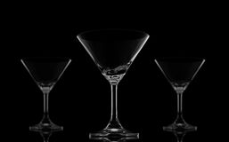 Three Cocktail glasses on black Stock Images