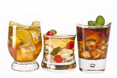Three cocktails. Three refreshing alcoholic and non-alcoholic cocktails Stock Photos