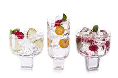 Three cocktails. Three coctals on a white background Royalty Free Stock Images