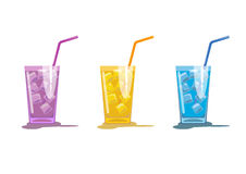 Three cocktails. Three color glass with drink. Glass of cocktail with straw. Vector illustration on white background stock illustration