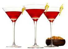 Three cocktails, martini, cosmo Stock Photo