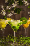 Three cocktails: pineapple, orange, kiwi. fruit soft drink with ice on a wooden background and flowers Stock Photos