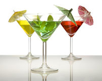 Three cocktails with umbrella Royalty Free Stock Image