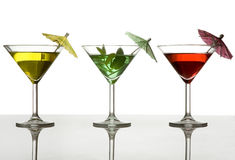 Three cocktails with umbrella Stock Image