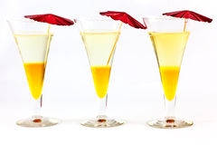 Three cocktails with umbrellas  Stock Photo