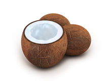 Three coconut on white background Stock Images
