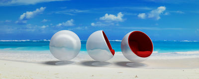 Three cocoon design seats in paradise Stock Photo