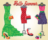 Three coctail dresses with accessories.Hello. Composition of three female's coctail dresses with high heel shoes and handbags.Bright summer party. Inscription stock illustration