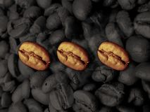 Three Coffee Beans Stock Images