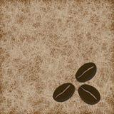 Three coffee beans on light brown background. Vector illustration vector illustration