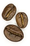 Three coffee beans. On a white background Stock Photography