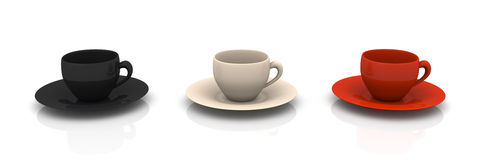 Three Coffee Cups Stock Images