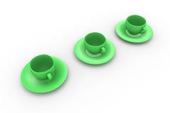 Three Coffee Cups Royalty Free Stock Photos