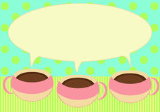 Three coffee cups talking invitation card. Invitation card with three chocolate, tea or coffee cups with steam in bubble speech form vector illustration