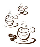 Three coffee cups on a white background.  stock illustration
