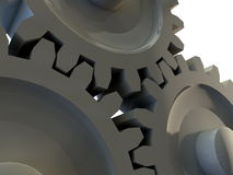 Three cog gears detail. Shiny and reflective gears. Computer render Royalty Free Stock Images