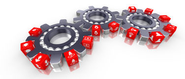 Three cogs transporting cubes with information security icons. Cybersecurity 3d Illustration Stock Image