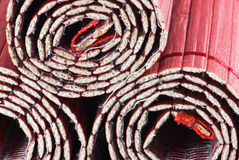 Three coiled bamboo mats. Closeup background Stock Photography