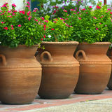 Three Coiled Clay Pots. A collection of three clay pots in San Antonio, Texas royalty free stock image