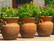 Three Coiled Clay Pots 2. A collection of three clay pots in San Antonio, Texas stock photos