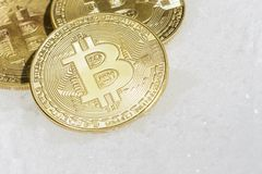 Three coins of crypto-currency bitcoin lie on white snow. Three coins of crypto-currency bitcoin lie on white snow Royalty Free Stock Photo