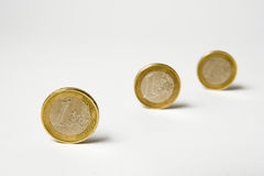 Three coins of euro Stock Images