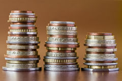 Three coins heaps Royalty Free Stock Photography