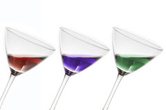 Three coktails. Three cocktails in different colors Royalty Free Stock Photos