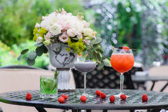 Three cold fruit cocktail Royalty Free Stock Image