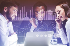 Three colleagues are discussing their business prospects and gra Royalty Free Stock Images
