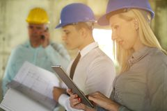 Group of professional construction managers. royalty free stock images