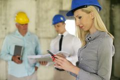 Group of professional construction managers. royalty free stock photo
