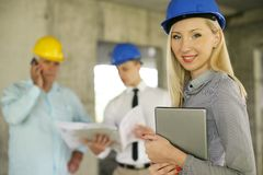 Group of professional construction managers. stock photos