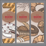 Three color bakery label templates with cakes, pie, bread, pastry Stock Photography