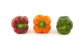 Three color bell peppers isolated close up Royalty Free Stock Photo