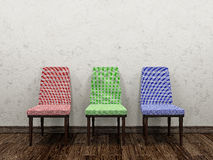 Three color chairs Royalty Free Stock Photos