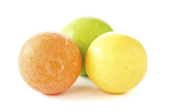 Three color chewing gum balls Stock Photos
