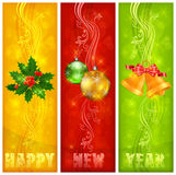 Three color Christmas background & text Royalty Free Stock Photography