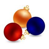 Three color christmas ball. Three christmas bal isolated on white background vector illustration